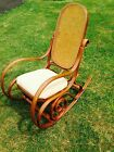VINTAGE THONET STYLE CANE BENTWOOD ROCKING CHAIR * MADE IN ITALY