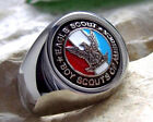 US SIZE 11.5 - EAGLE SCOUT RING BOY SCOUTS PIN PATCH SURGICAL STEEL SILVER M3