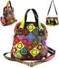 New Genuine Leather Multi Color Flower Patchwork Cross Body Shoulder Bag Purse