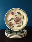 Emerald Collection Hand Painted  Violet & Green Flowered  Dinner Plates  (4)