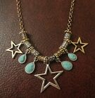 NWT LUCKY BRAND TWO-TONE STAR CHARM AND TURQUOISE STONE FRONTAL NECKLACE
