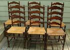 Very Old Primitive Set Antique Ladder Back Rush Seat Chairs Set of 6