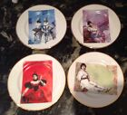 4 VINTAGE ROSANNA OLD STOCK MOULIN ROUGE PLATES MADE IN ITALY DESSERT PLATES