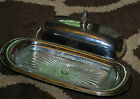 Wm Rogers 937 Silverplate 3 PC Butter Dish Metal Tray Cover w/ Glass Insert VTG