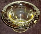 Yellow cut & etched footed bowl with rolled rim in floral design