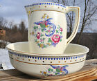 Lovely Antique Pitcher & Wash Bowl Set Keramis Belgium Long Tailed Bird Design