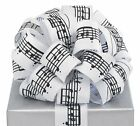 Black Musical Notes White Ribbon 20 yards 1.5
