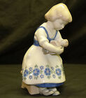 Vintage Old Lippelsdorf Germany Porcelain Girl w/ Doll Figurine 1877 Crown GDR