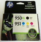 4 PACK HP 950XL BLACK & 951 All 3 MULTI-COLORS C2P01FN Ink Cartridges 1 day auct