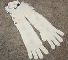 Tommy Hilfiger NEW Ivory Sequined Ribbed Winter Gloves One Size Argyle