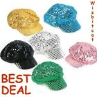 NEW SEQUIN Sequined NEWSBOY CABBIE Costume Disco Funky Hat Cap Visor BERET