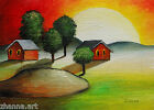 Sunset  Landscape Original ACEO OIL painting miniature red Barns