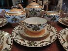 ANTIQUE NORITAKE MORIMURA TEA POT SET PEACH LUSTER HAND PAINTED DECO 1920's