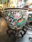 Vintage Chinese Porcelain Fish Bowl Planter / Jardinier, with Rosewood Stand