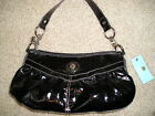 NEW KATHY VAN ZEELAND SHINY BLACK FAUX PATENT LEATHER HANDBAG NWT