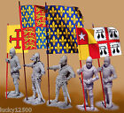 FIVE FLAGS for 54mm Size MEDIEVAL KNIGHTS - BRAND NEW (1/32 Scale)