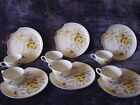 SIX SETS Metasco Yellow Rose Sea shell Scallop plate and cup sets gold edged