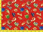 Winter Hats Scarves Snowflakes on Red Christmas Quilting Fabric 2/3 Yard  #3005