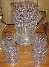 1950s Hobnail Ruffle Rim Pitcher and Hobnail Glasses Water Set Tumblers