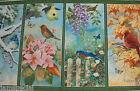 Birds of the Season Panel Fabric 3 panels cardinal blue jay spring autumn finch