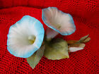 Vintage Golden Crown E&R Ceramic Blue Trumpet Flowers Made In Italy 381414