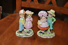 Vintage Lefton Boy and Girl Ceramic Bisque Figurines Pair of 494 Young Couples