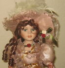 BEAUTIFUL VICTORIAN PORCELAIN DOLL WITH RED HAIR &GREEN EYE IN LACE DRESS