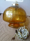 Mid-Century Amber Glass Swag Lamp & Chain Chandelier Retro Pendant Vintage Works