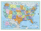 USA United States Wall Map Color Poster 22x17 LARGE PRINT Rolled Paper 2019