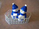 Snowman Salt and Pepper Shakers Hugging Nestled in a white basket