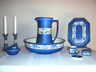 ANTIQUE BLUE & WHITE 12 PIECE PITCHER & BOWL  VANITY SET - TAMS WARE