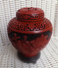 FINELY CARVED CHINESE CINNABAR LACQUER GINGER JAR