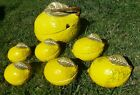 VINTAGE LEMON SOUP TUREEN & 6 COVERED BOWLS ITALIAN MAJOLICA mancioli