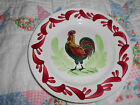 Vintage Country Rooster Plate Marked HBCM Hand Painted Made in France