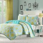 Beautiful & Playful Spring Teal Reversable 3-PC Quilt Set Twin Full/Queen NEW