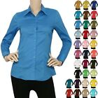 IRON PUPPY L SLV Button Down Solid Collar Work Office Shirts Skinny TopS 3XL