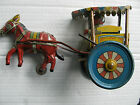 Japanese Made in Japan Tin Horse Donkey Drawn Cart Works RARE Pre War Post War