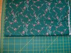 small pink florals white ribbons on green cotton BTHY free ship US