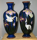 Superb Large Meiji Japanese Pair Silver Wire Cloisonne Enamel Vases with Egrets