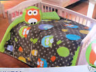 NEW owl decor Reversible 39x55 Blanket /pillow bed crib set  Plush fleece throw