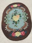 Antique American Hooked Oval Rug Cotton on Burlap Floral Light Blue Brown 29x48