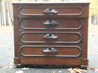 Antique Early Marble Top Chest Dresser WALNUT Fruit Carved Pulls
