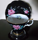 Royal Albert Bone China Tea Cup Black Glaze with Pink Roses and Gold Trim