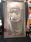 Art Deco Mother and Child Metal Bas Relief Panel M. Registrado M.F.