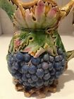 1875 Majolica Jug Pitcher Antique Grapes 19th century Brown, Westhead