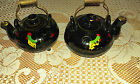 VINTAGE REDWARE BLACK KETTLES SALT AND PEPPER WITH WIRE HANDLES JAPAN