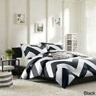Beautiful Vibrant Black White Grey Gray Chevron Comforter Set Twin Full/Queen