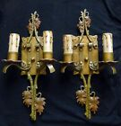 PAIR antique ART DECO Mission ARTS & CRAFTS 2 candle WALL SCONCES 1920s