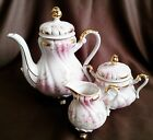 Lefton Heirloom Rose KF1075R Tea Pot, Sugar Bowl & Creamer, Pink, Grey, White