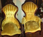 Antique Pair of His & Her Napoleon Parlor Slipper Chairs Carved Walnut w/ Roses